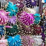 Coloured silks, Fez Souk, Morocco