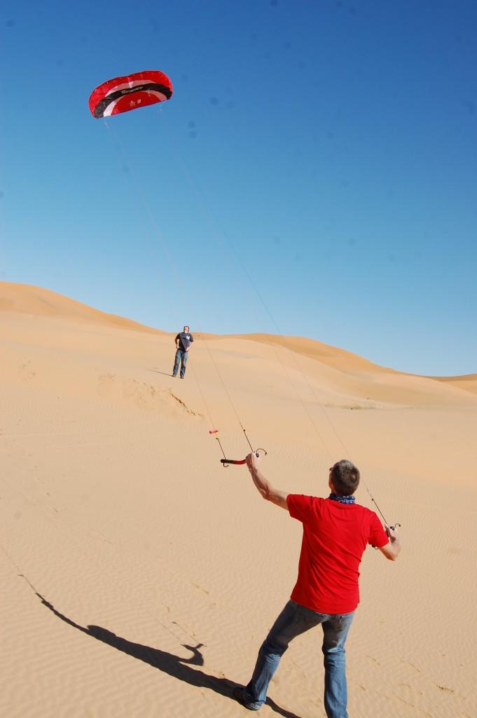 Kite flying in the dunes