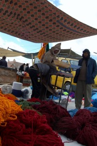 Wool stall at souk