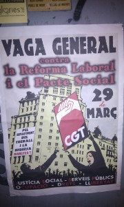 Poster for the General Strike across Spain on 29 March