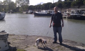 Charlie and J at the Canal du Midi port - you could get to the Med or Atlantic from here!