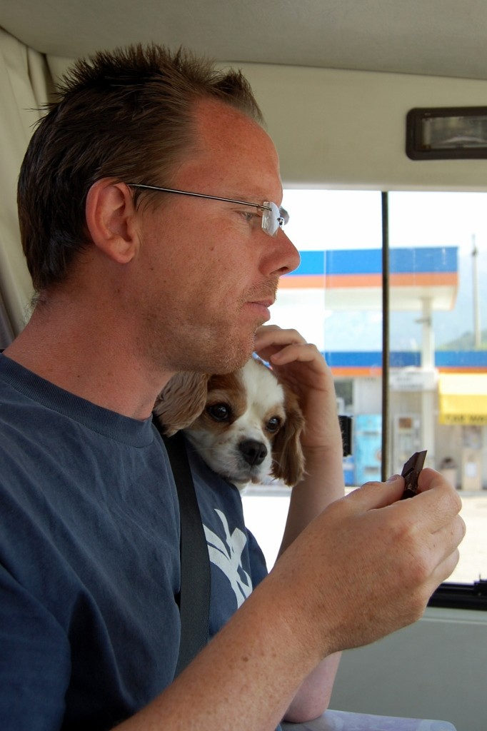 Charlie appears in the cab to sniff the chocolate