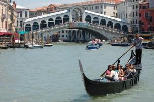 Gondolas and bridge on the Grand Canal