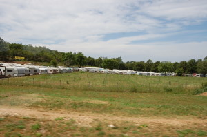 Hundreds of caravans in storage.
