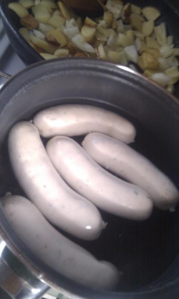 Munich white sausage. Looks weird, tastes bland.