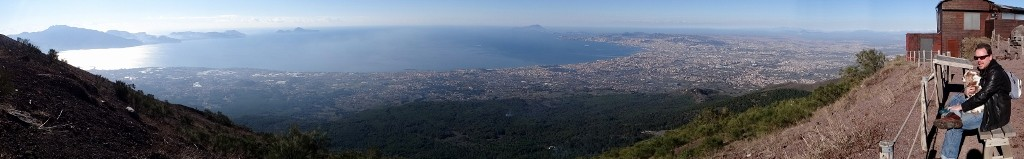 Jay and Charlie take in the views from the top of Vesuvius