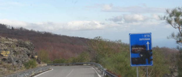 Heading off Etna. Blacked out signs? Either the Vandals or the town/road is no more?