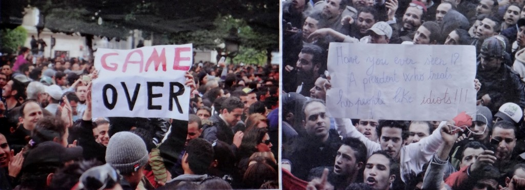 Posters showing the uprising are stuck up in towns