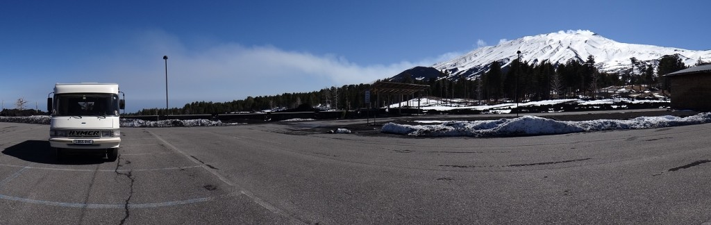 Dave's parking spot for the night, one of Etna's smoking craters for a backdrop.