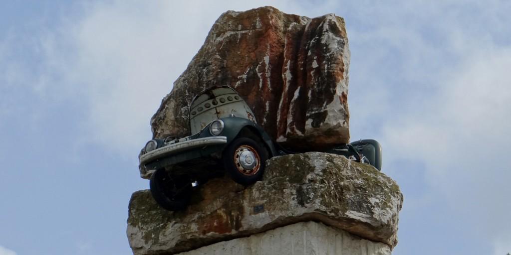 Our favourite sculpture, poor VW beetle!