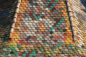 Colourful tower rooftiles in Sighisoara