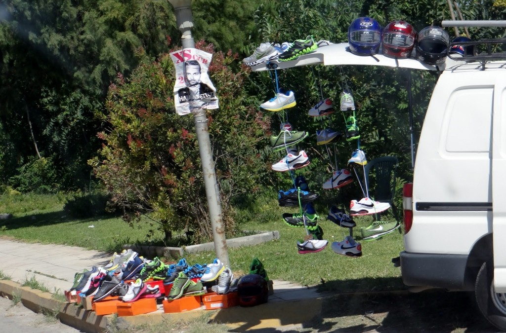 Another random roadside trainer stall, this one has branched out into helmets too, can't see there being a big uptake around here!