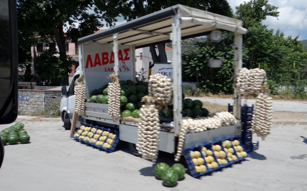 Roadside fruit stalls are now all melons and garlic - orange season must be coming to an end