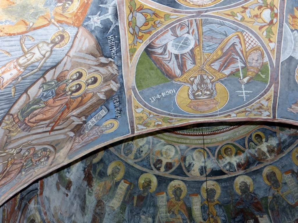 Frescoes in the little church next to Dave - all locked up and seemingly abandoned.