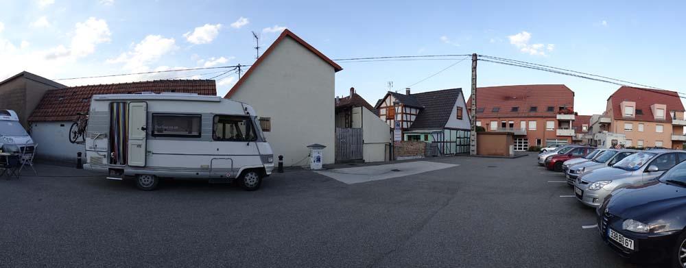 The motorhome aire at Soufflenheim, Alsace-Lorraine