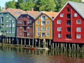 Colourful warehouses by waterfront Trondheim