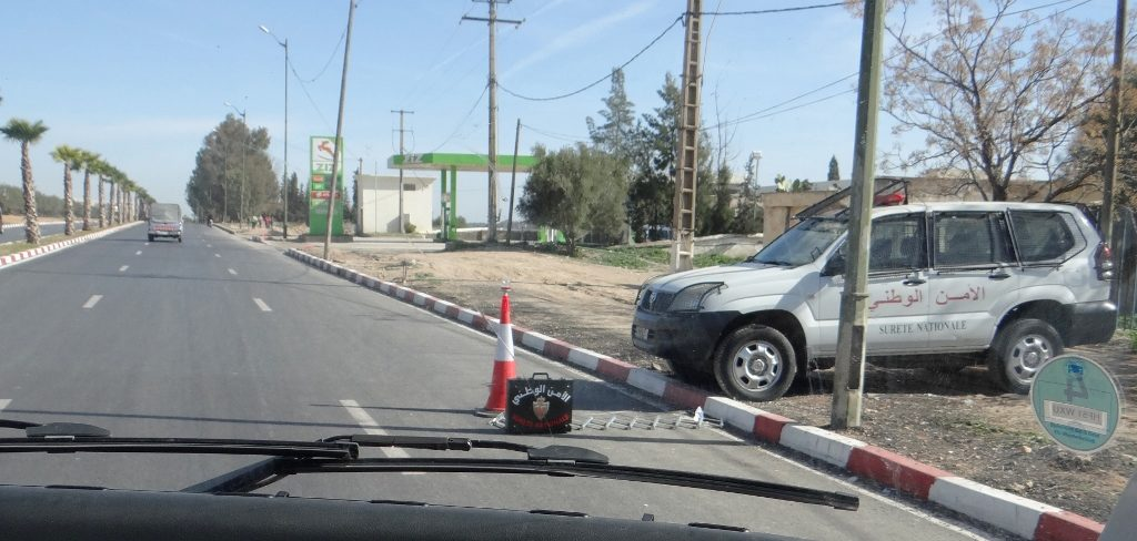 The police use road blocks a lot in Morocco, we slow down or stop but have always been waved through. In the Western Sahara the story might be different