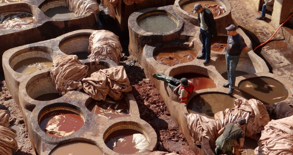 Workers at the tannery co-operative in Fes