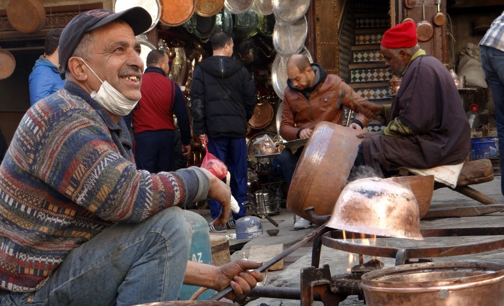 Crafts are practised in the open or in tiny workshops around the medina
