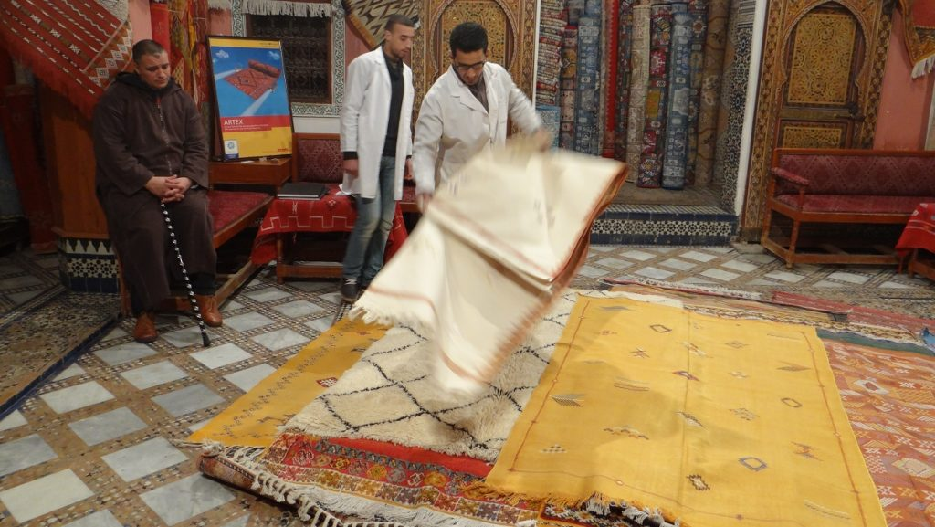 The full-on carpet sales experience, including the mint tea