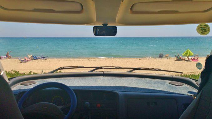 Hymer Windscreen View of Beach