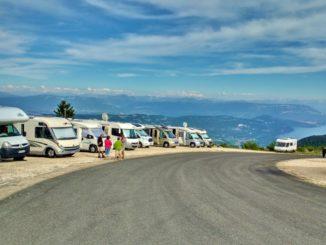 Motorhomes on Col de Grand Colombier for Tour de France