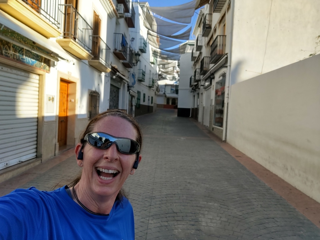 Ju's morning runs through Nerja before the shops open.