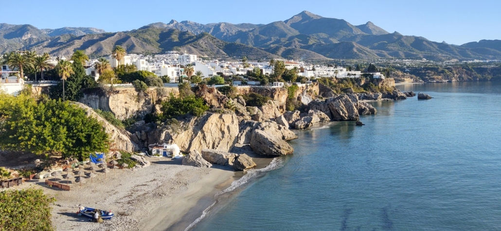 Pure blue seas and skies in October in Nerja, Costa Del Sol