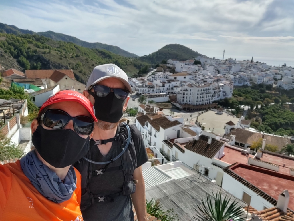 Masked-up in Frigiliana. We've a stash of different masks at the ready for the coming months.
